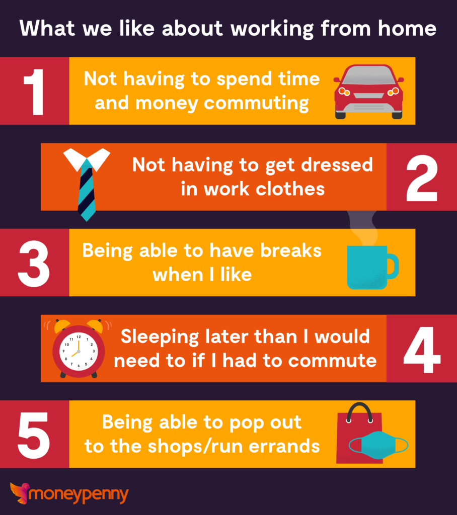 Image showing the top 5 things we like about working from home.